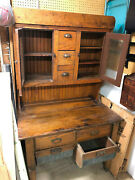 Antique Bakerand039s Cupboard - Late 1800and039s Tin Grain Bins Hammered Glass Doors