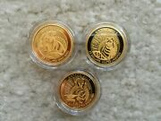 2013-14 Untamed Canada 3x 1/4oz Gold Proof Coins Arctic Fox Pronghorn Wolverine