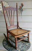 Antique 1800and039s Illinois Pioneer Oak Caned Sewing/nursing Rocking Chairvery Rare