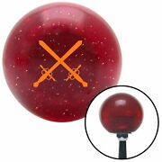 Orange Swords Crossing Red Metal Flake Shift Knob M/t Usa Shifter Hurst Tree Fly