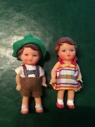 Vintage 1980 Miniature German 3 Rubber Doll Pair With Ethnic Clothes