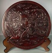 15.3 Antique Old China Xuande Mark Bronze Hand Carved Dragon Phoenix Plate