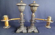1820-50's All Original Matched Pair Of Argand Colza Or Whale Oil Table Lamps