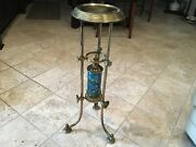 Rare-antique French Longwy Porcelain And Brass Plant Stand Must See