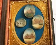 Antique Early Four Miniature Original Paintings Mounted In Daguerreotype Case
