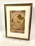 1898 Framed Menus And Programmes Illustres Lithograph Cover Mucha