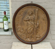 Antique French Wood Carved Religious Medaillon Wall Panel Plaque Saint Peter