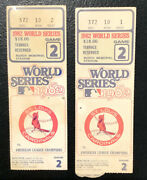 Original Two 1982 World Series Ticket Stubs, Game 2, Cards/brewers Vg