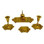 French Antique 19th Ce Bronze And Enamel Desk Set