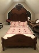 Victorian Walnut Marble Antique Bed With Full Mattress