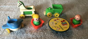 Vintage Fisher-price Little People Riding Toys Boy And Girl Table