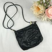 Whiting And Davis Black Metal Mesh Evening Bag Clutch W/leather Strap