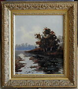 Ernest Christmas 1863-1918 Original Oil Painting Still Waters And Duck Shooters