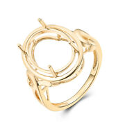Fashion Ring Solid 18k Yellow Gold Oval 14x10mm Semi Mount Fine Jewelry Antique