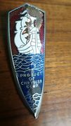 1939 1940 1941 Plymouth Hood Grill Ornament Emblem Sailing Ships Cloisonne