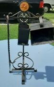 Antique 1800's Victorian Hand Forged Wrought Iron 24 Fireplace Stand Andtool Set