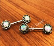 14g Pair Burnished Victorian Antique Sparkle Seashell Flower Nipple Ring 365