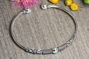 100 Real 925 Sterling Silver 3mmx60mm Head Ball Oxidised Bangle-girl Women
