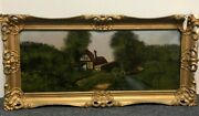 Antique  Amazing Condition Glass Reverse Painting The Highlands Scotland
