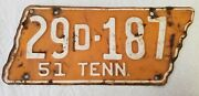 Vintage 1951 Tennessee License Plate - Anderson County Original Paint Vols