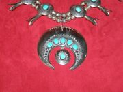Vintage Squash Blossom Necklace - Sterling Silver/turquoise-shadow Box Design