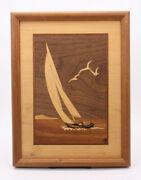 Nelson Signed Inlaid Wood Sail Boat Ocean Sea Boaters 13x10 Marquetry Art Plaque