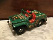 """Vintage 7-1/2"""" Hadson Japan Tin Litho King Western Cowboy Jeep Friction Toy"""