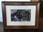 Vintage Mid Century Abstract Block Print Lithograph Space Age Sci Fi - Signed