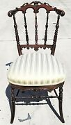 Antique Hand Carved Mahogany Chiavari Vanity Desk Accent Dining Chair