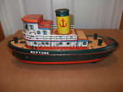 Vintage Trade Mark Battery Operated Metal Litho Tin Toy Boat Ship