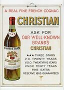 Antique Christian French Cognac Promotional Sign, Alcohol Advertising