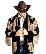 Menand039s Black Western Style Cowboy Suede Leather Jacket With Fringes And Beads