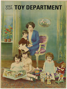 1920and039s Antique Toy Department Advertising Poster Original Lithograph