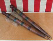 Vintage Antique Wood Croquet Stakes Color Striped 22 Game Posts 1890s-1900s