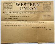 1933 Western Union Telegraph President Franklin D. Roosevelt Uss Indianapolis