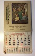 Vintage 1958 George Young And Son Milk Dairy Thermometer Calendar Nassau Ny