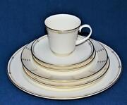 New Pickard Bone China Hand Decorated Gold Silver Rope Alexis 6 Pc Place Setting