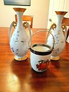 2 Antique Limoges Hand Painted Vase 12x51/2 1 Pot 5 1/2x4 Free Shipping