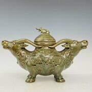 13.7 Chinese Old Antique Longquan Porcelain Double Cattle Incense Burner