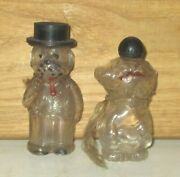 2 Antique Vintage Dog Glass Candy Containers With Bakeolite Caps