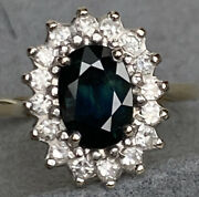 Diamond Halo Blue To Green Color Change Sapphire 18k Yellow Gold Vintage Ring