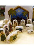 Orig. Set 18 Petei Nativity Figures Animals 18 Ct Ndlpt. Canvases/stitch Guides