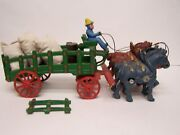 Vintage Cast Iron 4 Horse Drawn Wagon Unknown Maker Good Condition