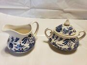 Old Willow Blue English Ironstone Tableware Hand-engraved Sugar Bowl And Creamer