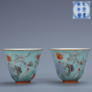 2.7 Pair Antique Old China Porcelain Kangxi Mark Blue Butterfly Love Flower Cup
