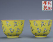 3.5 Pair Antique Old China Porcelain Tongzhi Mark Yellow Flower Cup
