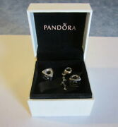 Lot Of 3 Pandora Sterling Silver S925 Assorted Ale Beads Charms And Box Retired