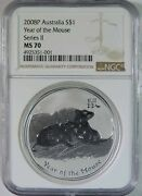 2008 P Australia Lunar Year Of The Mouse One Dollar 1 1oz Silver Coin Ngc Ms70