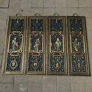 37 Old China Camphor Wood Painted Openwork Chess Book Painting Four Screens