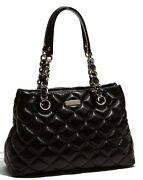 Kate Spade Auth 498 Women's Black Leather Gold Coast Maryanne Quilted Handbag
